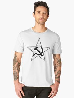 'Hammer And Sickle Inside Star - Symbol of Communism' Premium T-Shirt by Zdenek Sasek Hammer And Sickle, Communism, Soviet Union, Chiffon Tops, V Neck T Shirt, Classic T Shirts, Symbols, Hoodies, Stars