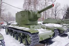 Soviet KV-2 Tank. Next to it is a late war IS-2m Stalin tank.