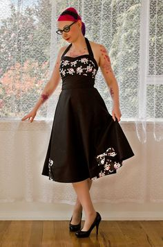 1950's Style Rockabilly Pin up Dress with Skulls