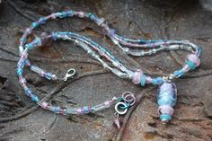 Lampworked Pendant Necklace with Serenity Blues, Rose Quartz Pinks, Crystal Whites and Silver Finished Accents Vintage Style, Retro Vintage, Vintage Fashion, Pink Necklace, Pendant Necklace, Pink Jewelry, Unique Jewelry, Necklace Extender, Multi Strand Necklace