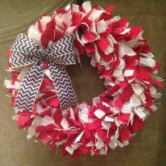 """20"""" Burlap wreath, rag wreath, fourth of july, july 4th wreath, summer wreath Copy on Etsy, $45.00"""