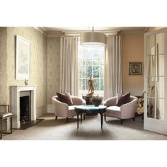 Seabrook Wallpaper CB91605 - Carl Robinson 9-Romantique - Damask Design shown in Sitting Room