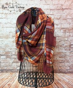 Oversized Perfect Plaid Blanket Scarf - Coffee – Rose Gold Vintage