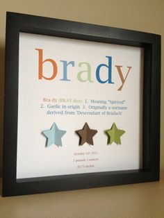 Nursery Art, 3D Paper, name definition, birth stats, customize with your information and colors