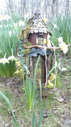 LIGHTS ON Turret Fairy Door with Leaf Awning Swing and by CindiBee, $125.00