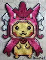 Pikachu in a Shiny Gyarados Hoodie by PerlerPixie