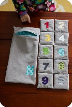 counting beanbags (pattern by chez beeper bebe). Made these and they are great fun. Also did name letter ones but could do whole alphabet if you have the time!