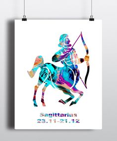 Sagittarius Astrology Art Print, Sagittarius Sign, Sagittarius Zodiac Print, Wall Art, Poster, Gifts for Sagittarius, Archival Art Print, Home Decor, Office Décor, Bedroom, Fine Art Print (UNFRAMED). • This is a professional, archival quality art print. • The Frame is not included in the sale - it's for illustrative purposes only. • The colors on your monitor may differ slightly from the colors of the print due to your monitor settings. • 5 x 7 and 8 x 10 prints will be shipped flat in a...