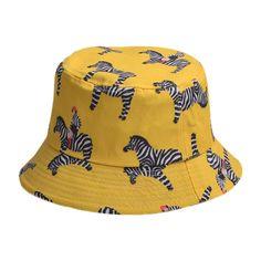 c59f41c1831 Cartoon Zebra Pattern Bucket Hat Yellow (105 PLN) ❤ liked on Polyvore  featuring accessories