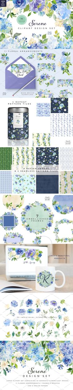 Serene Flower #Clipart Set : A beautiful mix of blue hydrangeas, peonies and roses complimented by a variety of leafy greens. This set would work for all sorts of design projects. ( #vector #illustrations #graphics #art #watercolor #photography #wedding )
