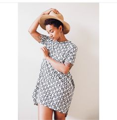 @alex_elle wearing @whimbyaree || natural hair and fashion. Twa and hats. Short hair with cute dresses.
