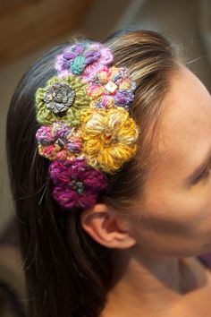 Crocheted Flower Headband- this would be a great use for remainders
