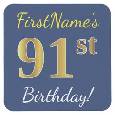 Blue, Faux Gold 91st Birthday + Custom Name Square Paper Coaster