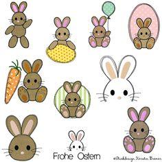 Hase Lutzi Doodle Stickdateien Set von KerstinBremer.de ♥ Rabbit appliqué embroidery design for embroidery machines. #sticken #hasenliebe #osterhase #ostern