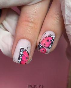 Nail Art Hacks, Gel Nail Art, Gel Nails, Acrylic Nails, Nail Polish, Nail Art Flowers Designs, Nail Art Designs Videos, Nail Designs, Butterfly Nail Art