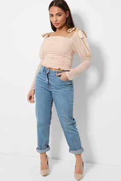 Light Blue Mid-Crise Denim Mom Jeans – SinglePrice