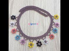 Diy Necklace, Collar Necklace, Crochet Necklace, Seed Bead Tutorials, Beading Tutorials, Crochet Flower Tutorial, Crochet Flowers, Jewelry Art, Beaded Jewelry