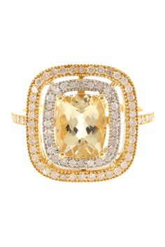 Stunning! Two-Tone White Diamonds & Yellow Beryl Cushion Ring.