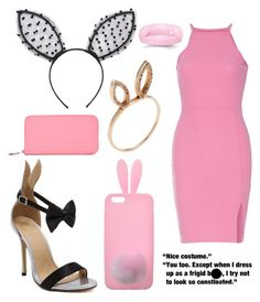 """""""Legally Blonde Bunny Outfit"""" by irishgirl3333 ❤ liked on Polyvore featuring Forever 21, Miss Selfridge, Jacquie Aiche, Wall Pops! and Hermès"""