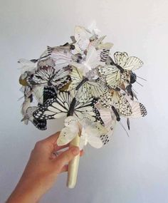 White & Ivory Butterfly Wedding Bouquet