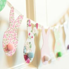 This adorable bunny banner is an easy Easter project. Use fabric scraps in colorful calico prints to make this super simple garland.
