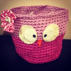 Cesta ropa #bebe #baby #trapillo #mama #regalo #pituserias #crochet #buhos #diy