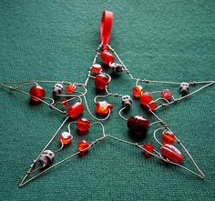 Red Skully Star - a beaded Christmas decoration *sold* by Sneddonia, via Flickr