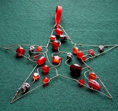 Red Skully Star - a beaded Christmas decoration *sold* by Sneddonia, via Flickr