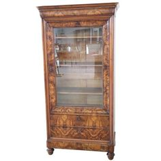 For Sale on - Antique English Vitrine in mahogany wood. Important mahogany wood carving with decorations moved. Perfect for displaying your collection of small Walnut Bookcase, Antique Bookcase, Shelves For Sale, English Shop, Vintage Italian, Walnut Wood, Display Case, Vintage Designs, 19th Century