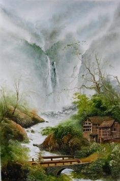 RP: Chinese Art - Life in the Mountains Chinese Landscape Painting, Japanese Landscape, Japanese Painting, Chinese Painting, Watercolor Landscape, Landscape Art, Japanese Art, Landscape Paintings, Waterfall Paintings