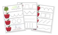 Letter A Pre-Writing Practice: I laminated these then cut them out along the lines, hole punched the corner and used an o-ring to bind them together like a little booklet like the Butterfly Sample below. Use dry-erase markers to practice writing numbers.