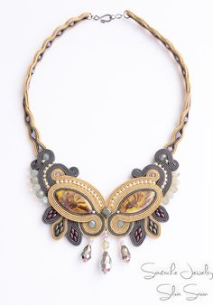 """""""Rising from chaos"""" Unique handmade soutache necklace"""