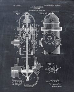 This is a print of the patent drawing for a fire hydrant patent in 1903. The original patent has been cleaned up and enhanced to create an
