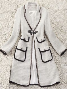 White Contrast Trims Ivory Button Pockets Trench Coat