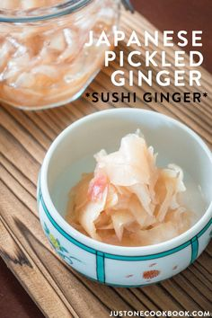 served with sushi or sashimi, Pickled Ginger (known as Gari in Japanese) is perfect for cleansing the palate and enhancing the flavors of your meal. This recipe teaches you how to make sushi ginger at home. Sushi Recipes, Asian Recipes, Vegetarian Recipes, Japanese Recipes, Cooking Recipes, Healthy Recipes, Japanese Food, Japanese Desserts, Asian Foods