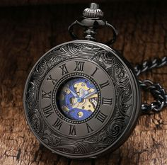 Vintage Mechanical Roman Number Pocket Watch Men Steampunk