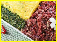 Carne seca desfiada puxada na manteiga com purê de mandioquinha em www.buteconosso.com
