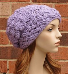 Crochet Hat Womens Slouchy Beanie Cabled Hat by AlyseCrochet