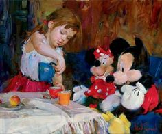 TEATIME WITH MICKEY AND MINNIE  Embellished Giclee on Canvas 24 x 30 inches Edition Size: 50 by Michael and Inessa Garmash