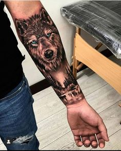 Wolf Tattoo Forearm, Tribal Wolf Tattoo, Cool Forearm Tattoos, Wolf Tattoo Design, Tattoo Wolf, Half Sleeve Tattoos For Guys, Half Sleeve Tattoos Designs, Hand Tattoos For Guys, Best Sleeve Tattoos