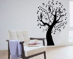 Music Tree Wall Sticker bedroom kitchen art vinyl decal Transfer Graphic Mural via Etsy. Maybe I need a tree in every room? Bedroom Murals, Wall Murals, Music Bedroom, Music Tree, Music Decor, Music Wall, Tree Wall Art, Room Themes, Cool Walls