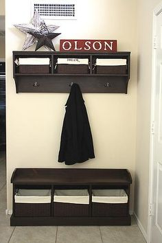 DIY Entryway Bench and Storage Shelf with Hooks... We are going to make this for our house. It's the perfect addition in our laundry room where you come in from the back door!
