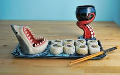 Nautical Sushi Set by aviceramics on DeviantArt Diy Crafts To Do, Clay Crafts, Ceramic Pottery, Ceramic Art, Sushi Set, Sushi Sushi, Sushi Rolls, Funny Stuff, Diy Crafts