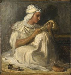 """THEODORE CHASSERIAU, (1819 - 1856) """"A Young Arab Poet"""""""