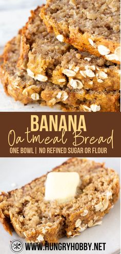 This banana oatmeal bread is a loaf of hearty, yet moist and delicious banana bread with nutritious ingredients that can be made in one bowl! Baking Recipes, Real Food Recipes, Cookie Recipes, Bread Recipes, Healthy Recipes, Muffin Recipes, Healthy Eats, Dessert Recipes, Oat Flour Banana Bread