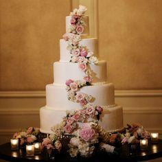 Elegant Five-Tier Floral Cake // Nadia D. Photography //  Cake: St. Regis Atlanta // http://www.theknot.com/weddings/album/a-romantic-fairytale-wedding-in-atlanta-ga-143918