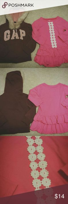 Winter Favorites bundle 3T VGUC. Pink tunic is by Carter's. Color matches pic 1-2 the best. Slight oil spot on the front (unnoticeable in pictures). GAP hoodie is light burbundy with pale pink lettering. Wash wear due to super soft lining. GAP Jackets & Coats