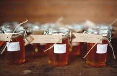 Jars are amazing for wedding favors. Filled with local honey or home made jams, these will please every guest!