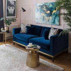 Get the Scoop on Blue Velvet Sofa Pink Velvet Pillows Before You're Too Late. Get the Scoop on Blue Velvet Sofa Pink Velvet Pillows Before You're Too Late – decorincite Art Deco Living Room, Blue Living Room Decor, Living Room Color Schemes, Living Room Interior, Living Room Designs, Blue And Pink Living Room, Art Deco Sofa, Paintings In Living Room, Living Room Decor Blue Sofa