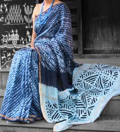 Handcrafted Shibori & Applique work Chanderi Saree ( without Blouse) | India1001.com